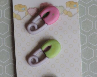 SALE Baby Buttons Diaper Pins by Buttons Galore Baby Hugs Collection Carded set of 3