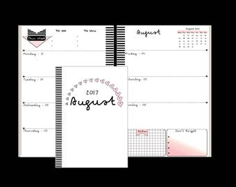 A5 Printed & Cut Weekly Planner Inserts  Week on 2 Pages 2017