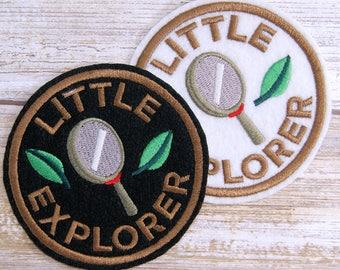 Little Explorer Round Merit Badge Iron On Embroidery Patch MTCoffinz - Choose Size/ Color