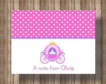PERSONALIZED NOTECARDS for GIRLS / Cute Princess Notecards/Pink Polka Dot Princess Carriage Stationery/Set of 10/Princess Thank You Card