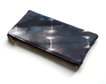 Hand Made Shibori Pouch - in Midnight Storm