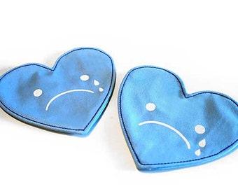 Sad Valentine Coaster Set, Blue Heart Coasters, Crying Face Hearts, Sad Face Hearts, Fabric Coasters, My Sad Valentine Coaster Set