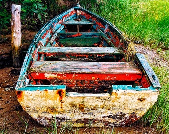 Cape Cod, Old Row Boat, Weathered Row Boat, Textured Row Boat, Peeling Paint Boat, Boat In Grass, Cape Cod Travel Photo, Wall Art