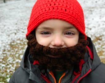 Crocheted Lumberjack Beard Baby Infant Toddler Child Hat in RED