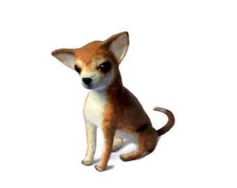 Art Dog Sculpture in Paper mache Chihuahua puppy Paper mache Figurines animals Gift for her