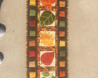 Quilted Table Runner or Wall Hanging - Beautiful Fall Leaves