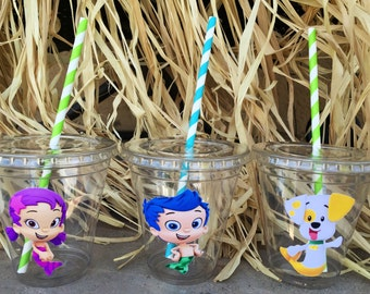 12 oz disposable bubble guppie theme party cups