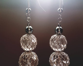 Silver mesh ball drop earrings, gift for her