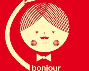 Bonjour mademoiselle red print