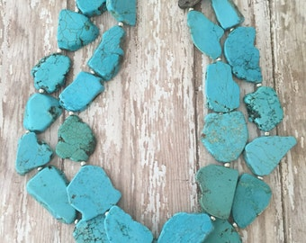 Layered Turquoise Necklace, Turquoise Statement Necklace, Chunky Turquoise Necklace, Tribal Necklace, Silver or gold accents, Western