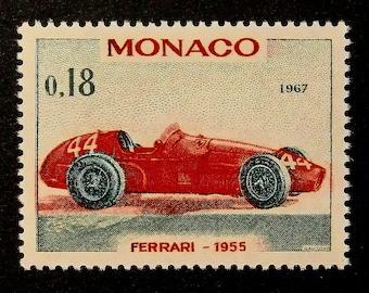 Ferrari 1955, Sports Car, Monaco 1967 -Handmade Framed Postage Stamp Art 14104AM