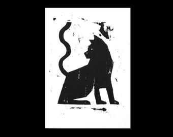 Cat No.2 A5 - Linocut Print