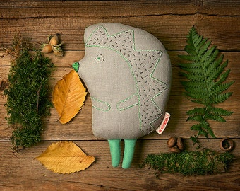 Hedgehog, Designer hand-embroidered toy, Stuffed animal, Animal Toy, Hedgehog Toy, children