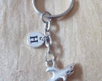 Shark Keychain with Initial, Shark Jewelry, Custom Jewelry, Charm Key chain