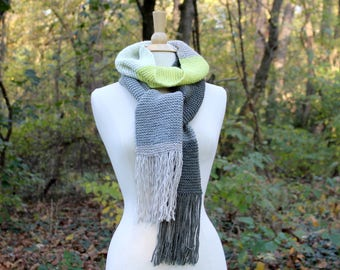 Gray and yellow color block scarf, knit scarf with fringe, long scarf with tassels, warm knit scarf, gift for her, women winter scarf