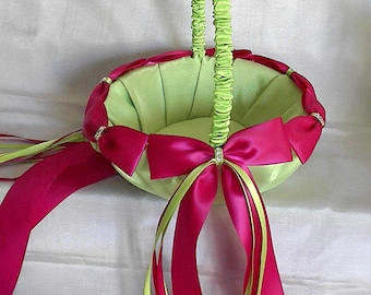Flower Girl Basket, Wedding Basket, Satin Bows, Swarovski Crystals, Wedding, Bridal, Basket, Flower Basket, Custom Made to your Colors