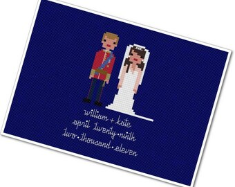 William & Kate - The *Original* Pixel People - PDF Cross Stitch Pattern - INSTANT DOWNLOAD
