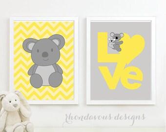 Love Koala Bear Duo. Gray. Yellow. Home Decor. Nursery Decor. - You Pick the Size (NS-122)