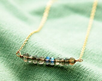 Labradorite pendant, gold necklace, labradorite jewelry, tiny labradorite necklace, wire wrapped necklace, gemstone pendant, wedding