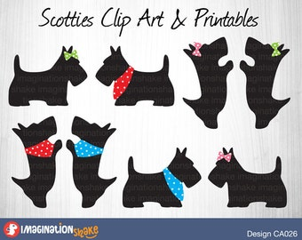 Scotties Clip Art & Printables Set CA026 / Clipart / Scottie Wall Decorations / Scottie Printables / Scottie Party Decor