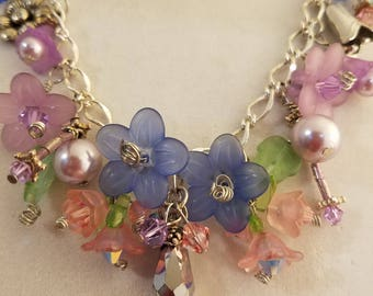 Purple, pink, silver, floral necklace