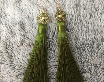 Green and gold tassel earrings