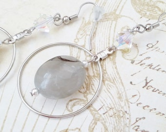 """Silver Hoop Drop Dangle White Frost Earrings """"WINTER MORNING'S FROST"""" Winter Wedding Earrings Strength for the Journey Strength4theJourney"""