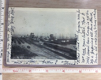 Vintage Old Photo Postcard Outer Harbor Ashtabula Ohio 1907 Used