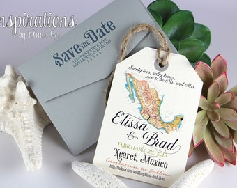 Save the Date Luggage Tags, Mexico Wedding, Save The Dates