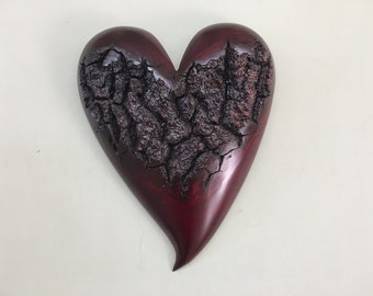 Heart red Myrtlewood wood 50th Anniversary gift wall hanging present