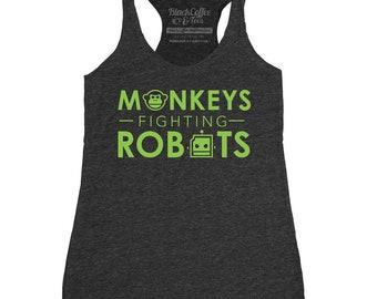 Monkeys Fighting Robots - Womens Screen Printed Tank Top