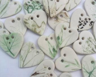 Leaf Buttons - Heart Button - Green Button - White Buttons - Rustic Buttons - Ceramic buttons - Handmade Buttons - Garden theme buttons -
