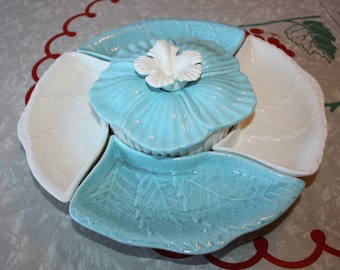 Cool Ceramic Turquoise Snack Platter Set with Lazy Susan