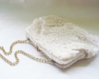 Vintage Faux Pearl Mid Century Modern Clutch