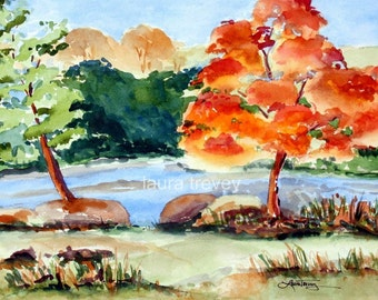 Riverside Watercolor Print