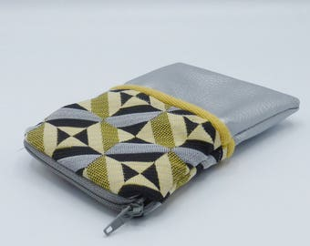 Yellow and silvery graphic glasses case in jacquard and faux-leather