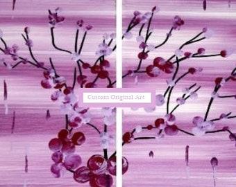 Pink Purple Asian Inspired Cherry Blossom Fantasy Flowers Canvas Original Modern Landscape Art Made to Order Custom