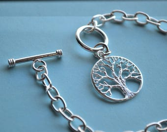 Chain Link Tree of Life Sterling Silver Bracelet, .925 Sterling Silver, Sterling Silver Charm Bracelet, Curb Chain, Link Chain, Pure Silver