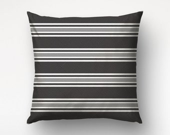 Black Pillow Cover, Striped Pillow, Minimalist, Custom Color, Nordic Pillow