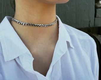 Thick Silver Choker Chain Necklace || Boy I Choker