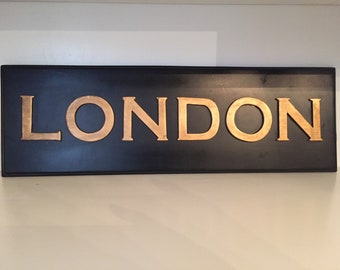 London Black and Gold Sign
