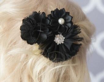 Black Hair Clip, black flower hair clip, girl hair accessories, girl birthday gift, flower hair bow, hair barrette, bridal hair clip