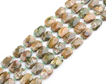 Full strand Natural Polar Jade Gemstones Faceted Loose Beads Pendants,Drilled Natural Jasper Cut Slab Spacer Beads Crafts Bracelet Jewelry
