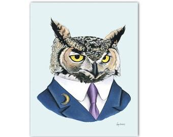 Horned Owl art print by Ryan Berkley 5x7