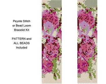 Pink  Roses Single Peyote, 2 Drop Peyote or Bead Loom Bracelet KIT - Pattern and Delica Bead Colors Included