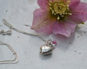 Small Vintage Heart Locket with Pink Swarovski Crytals