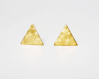 Hammered Triangle Brass Gold Stud Earrings 925 Sterling Silver Posts,Bridesmaid gift,Gift for Her,Everyday Jewelry,Simply Jewelry,Geometric