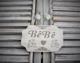 Wooden baby door plaque