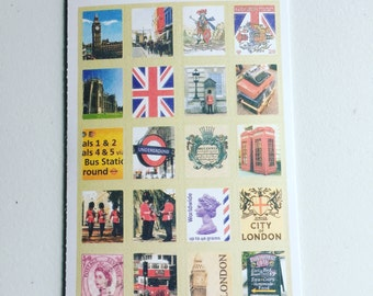 London Vintage Stamp Stickers, United Kingdom Postage Stamp Stickers, Scrapbooking Stickers, Decorative Stickers, Card Embellishment