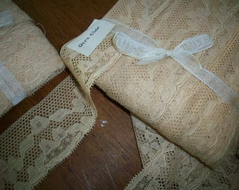 French vintage butter pure cotton lace lovely design 2 widths